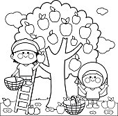 Kids harvesting apples coloring book page