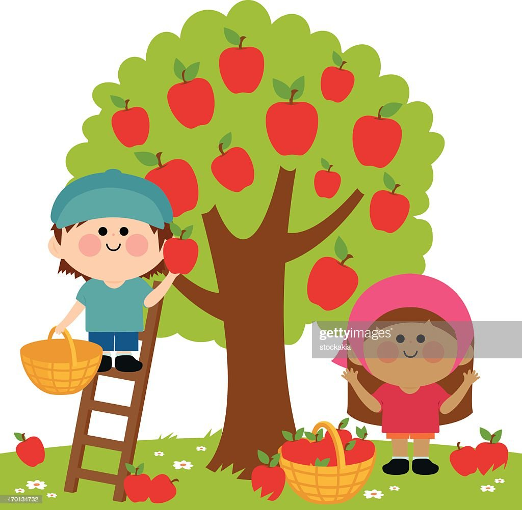 Kids harvesting apples