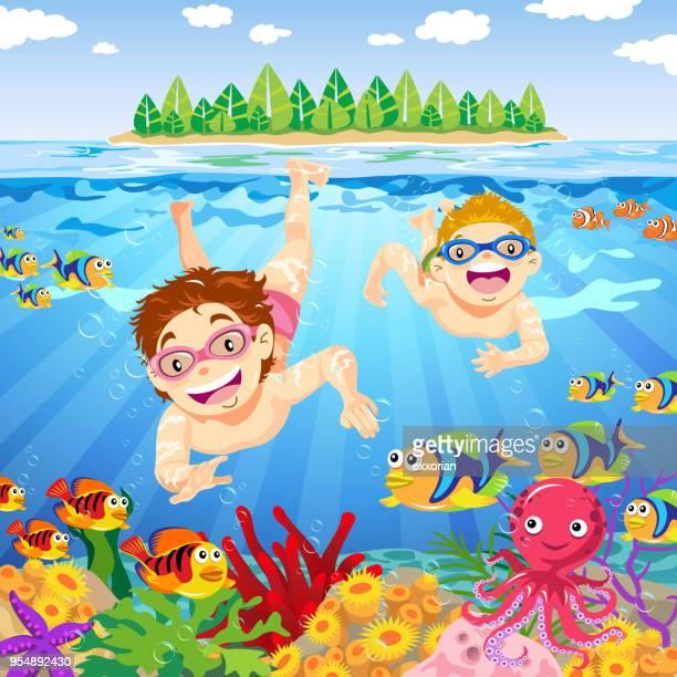 Kids Have Fun Underwater