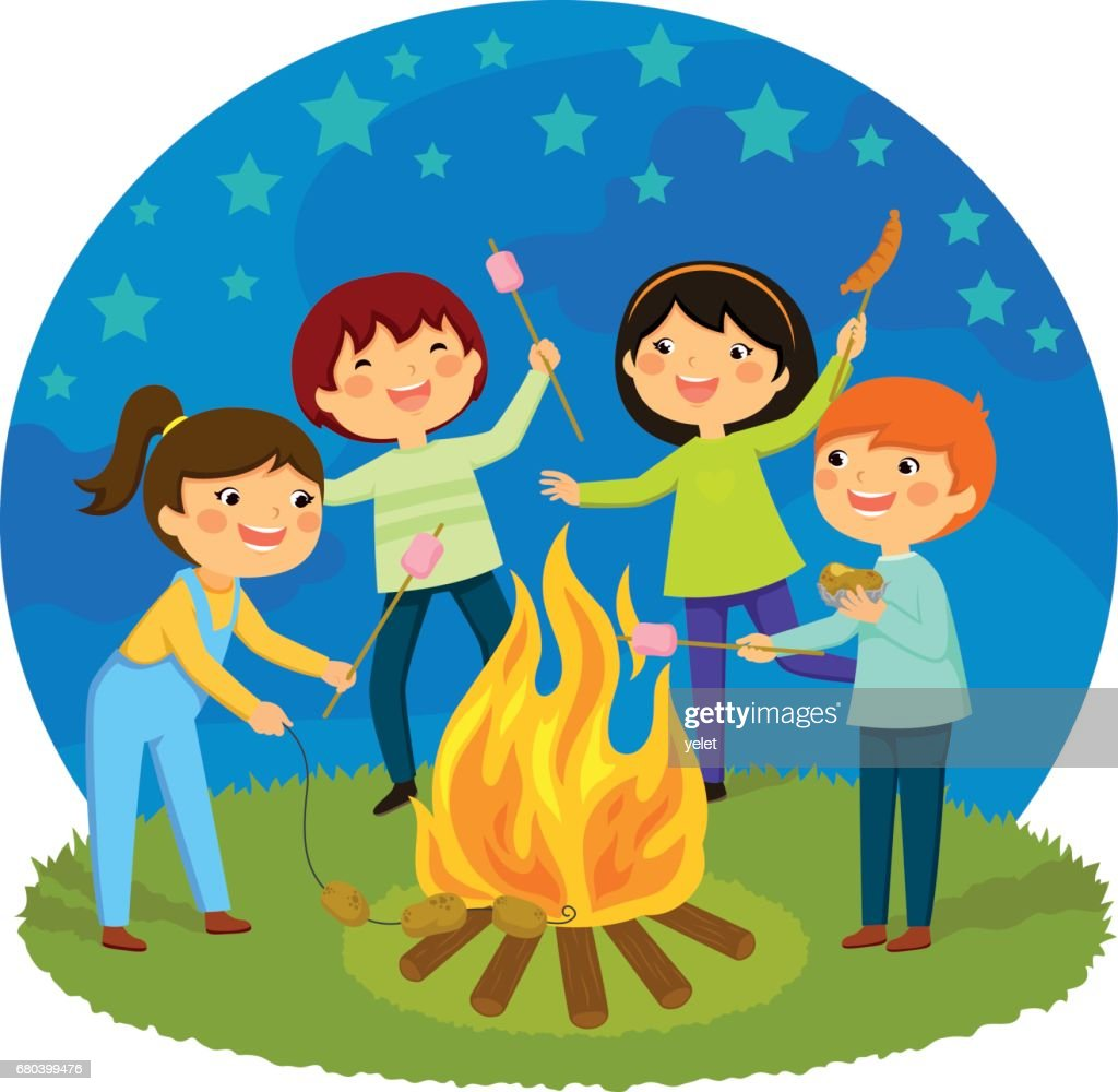 Kids Having A Bonfire High-Res Vector Graphic - Getty Images