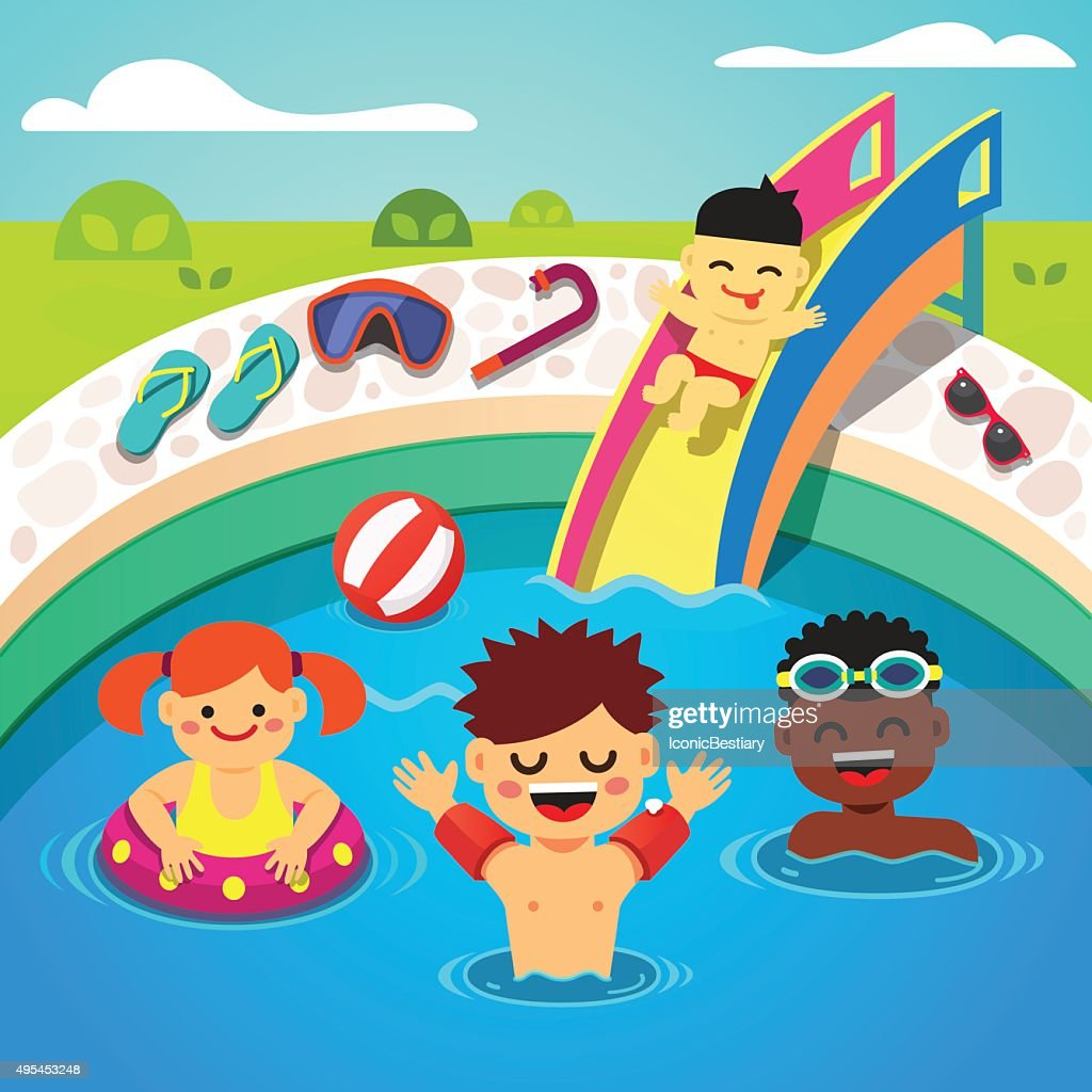 Kids having a pool party. Happy swimming