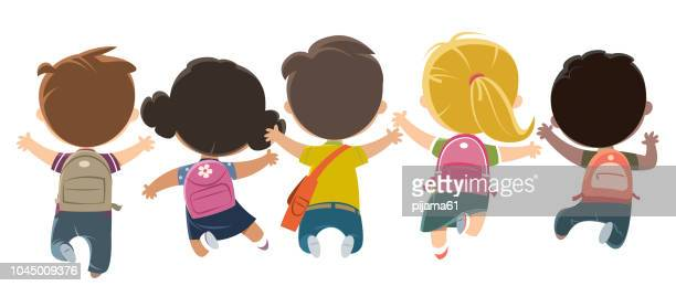 kids heading to school - school child stock illustrations, clip art, cartoons, & icons