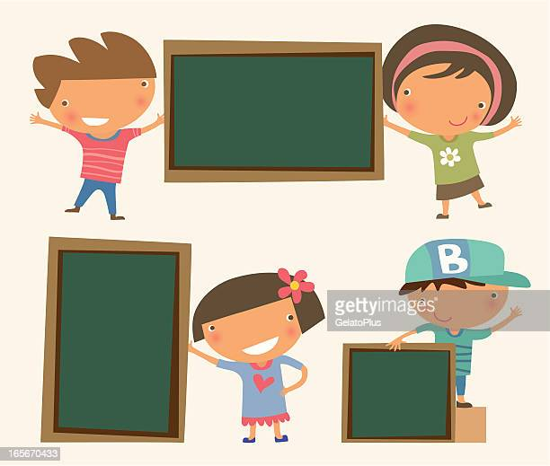 Kids holding Blackboard
