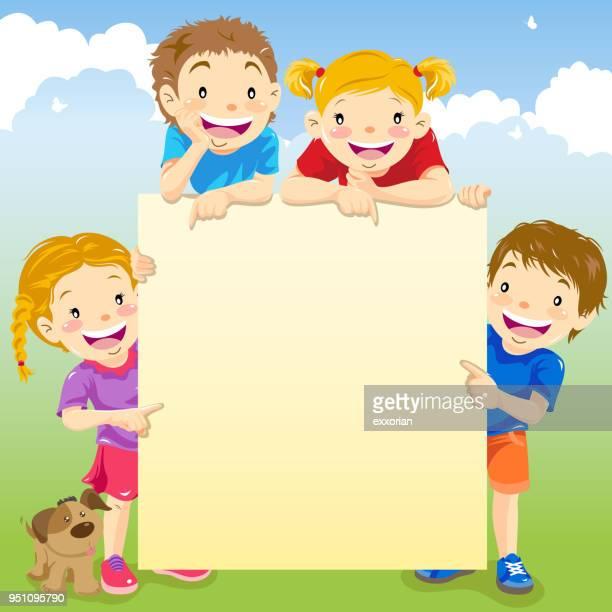 illustrations, cliparts, dessins animés et icônes de enfants tenant une pancarte blanche - quatre personnes