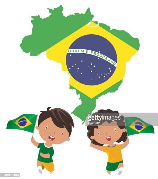 Kids holding Brazil flag
