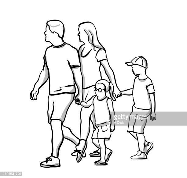 kids holding hands to cross - clip art family stock illustrations