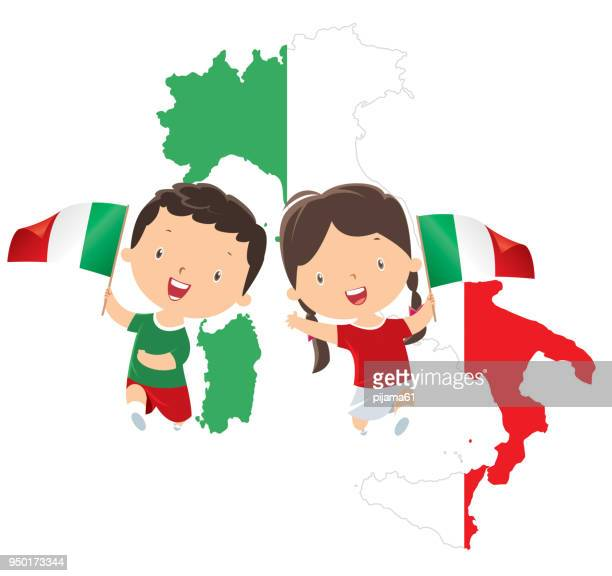 ilustrações, clipart, desenhos animados e ícones de crianças, segurando a bandeira da itália - itália