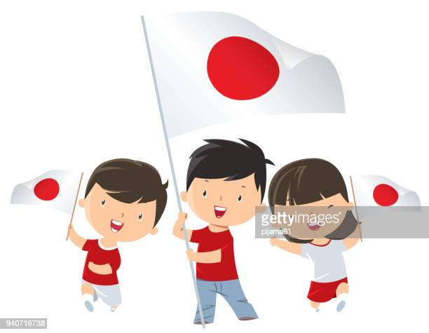 kids holding japan flag - japanese flag stock illustrations, clip art, cartoons, & icons