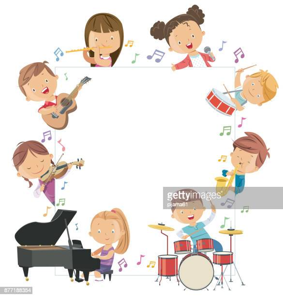 kids holding musical instruments surrounding a blank board - musical instrument stock illustrations, clip art, cartoons, & icons