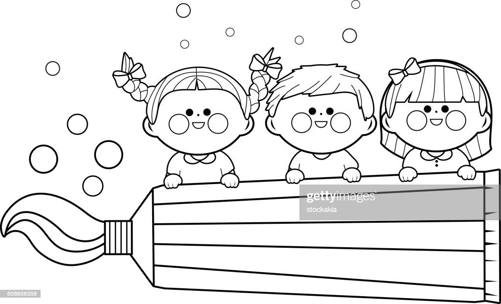 Kids holding toothpaste. Coloring book page