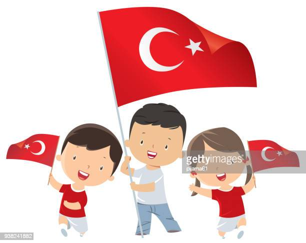 トルコのフラグを保持している子供 - 四月点のイラスト素材/クリップアート素材/マンガ素材/アイコン素材