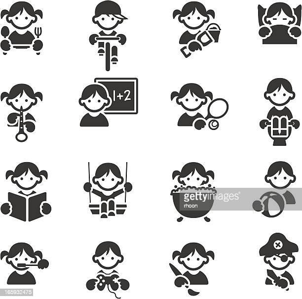 ilustraciones, imágenes clip art, dibujos animados e iconos de stock de iconos para niños - comer