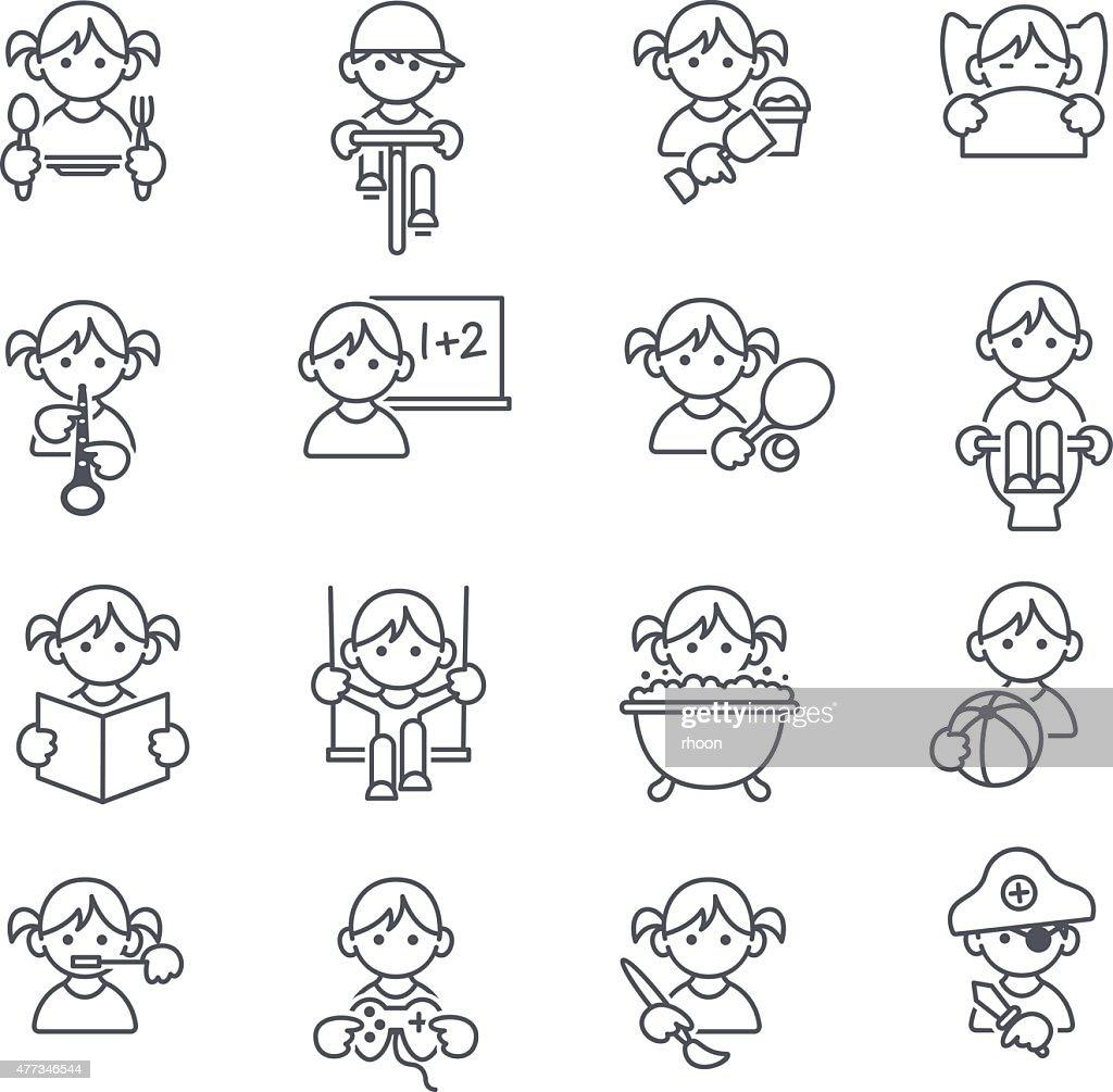 Kids icons : stock illustration