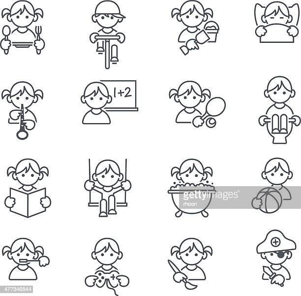 kinder-icons - social grace stock-grafiken, -clipart, -cartoons und -symbole