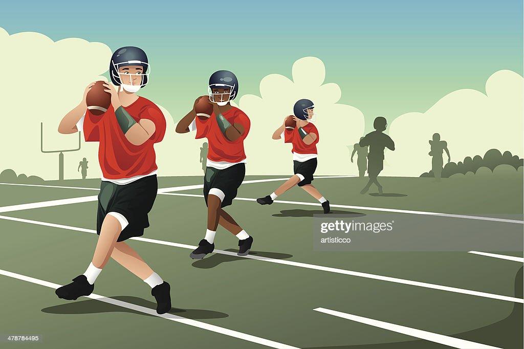 Kids in American football practice