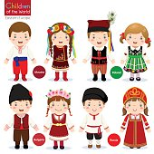 Kids in different traditional costumes (Ukraine, Poland, Bulgaria, Russia)