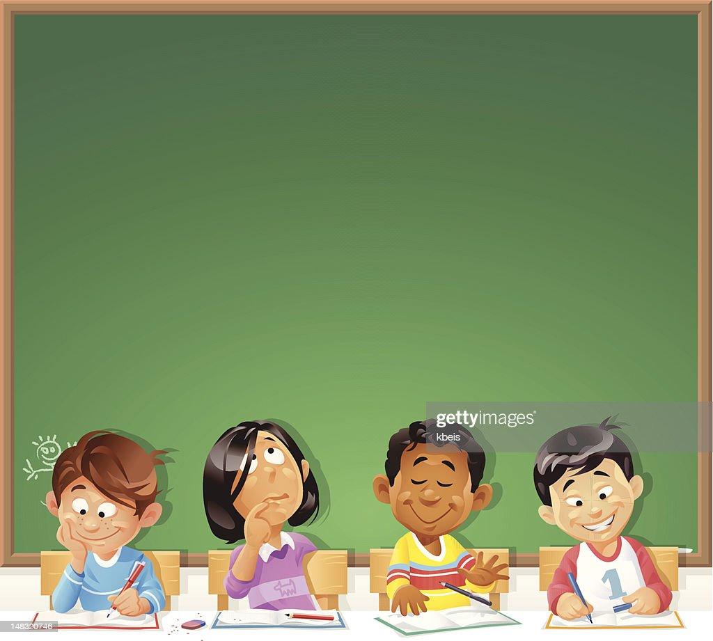 Kids in Front of Blackboard