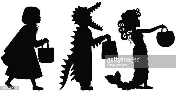 kids in halloween costumes silhouettes - little red riding hood stock illustrations, clip art, cartoons, & icons