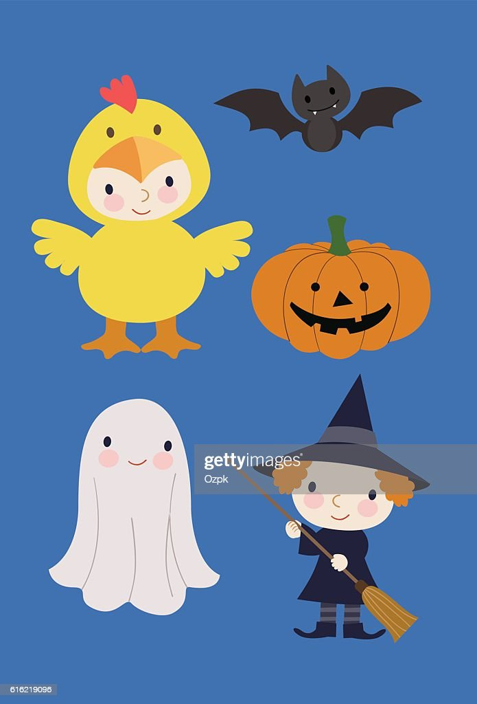 Kids in Halloween Costumes with a Pumpkin and a Bat : Vector Art