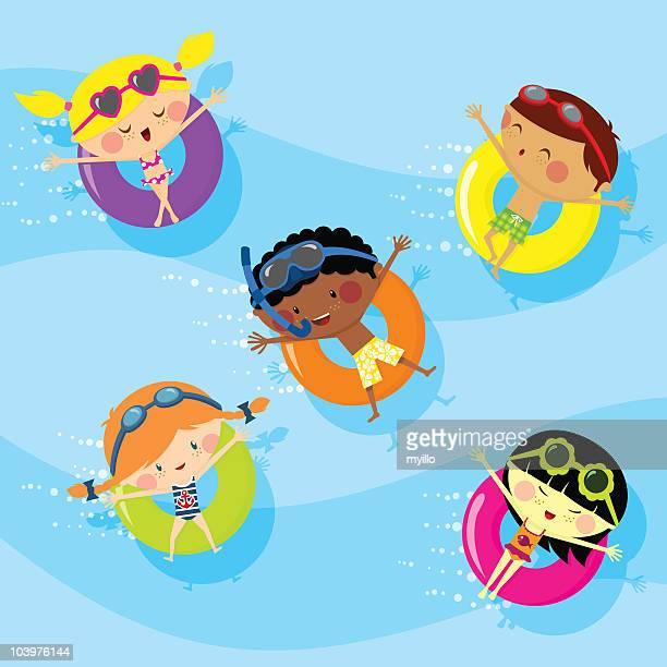 ilustraciones, imágenes clip art, dibujos animados e iconos de stock de los niños en la piscina - pool party