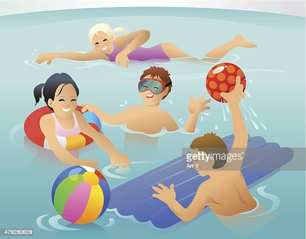 illustrations, cliparts, dessins animés et icônes de enfants dans l'eau - matelas pneumatique