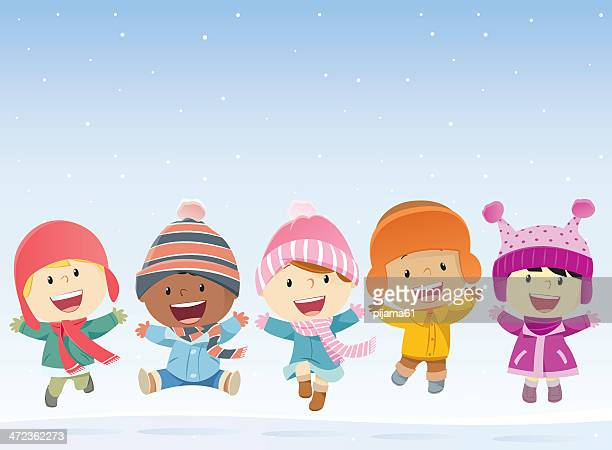 kids jumping in the snow - child stock illustrations