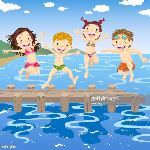 Kinderen springen in Lake