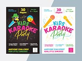 Kids karaoke party flyer with microphone and bright typography. Children music or song contest poster layout template design.