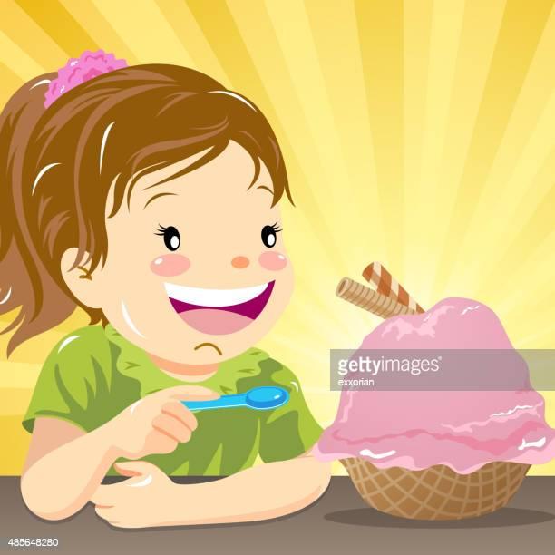kids love ice-cream - eating ice cream stock illustrations, clip art, cartoons, & icons