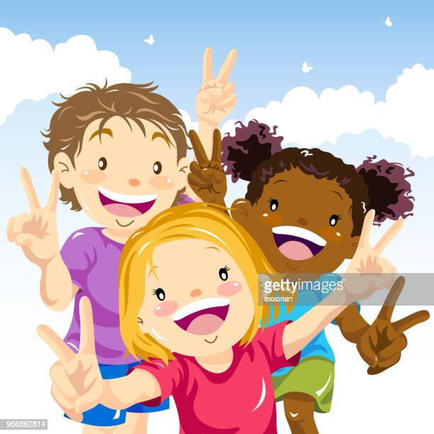 Kids Making Victory Sign