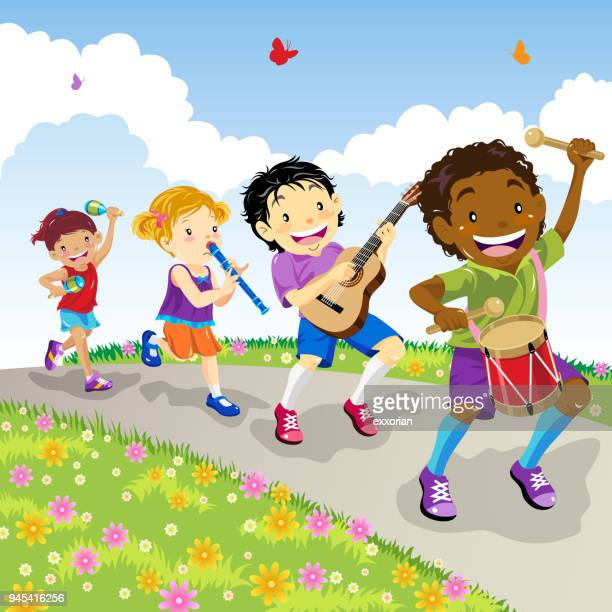kids marching - snare drum stock illustrations, clip art, cartoons, & icons