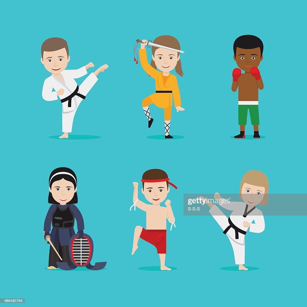 Kids martial arts vector icons