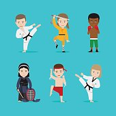 Kids martial arts vector icons