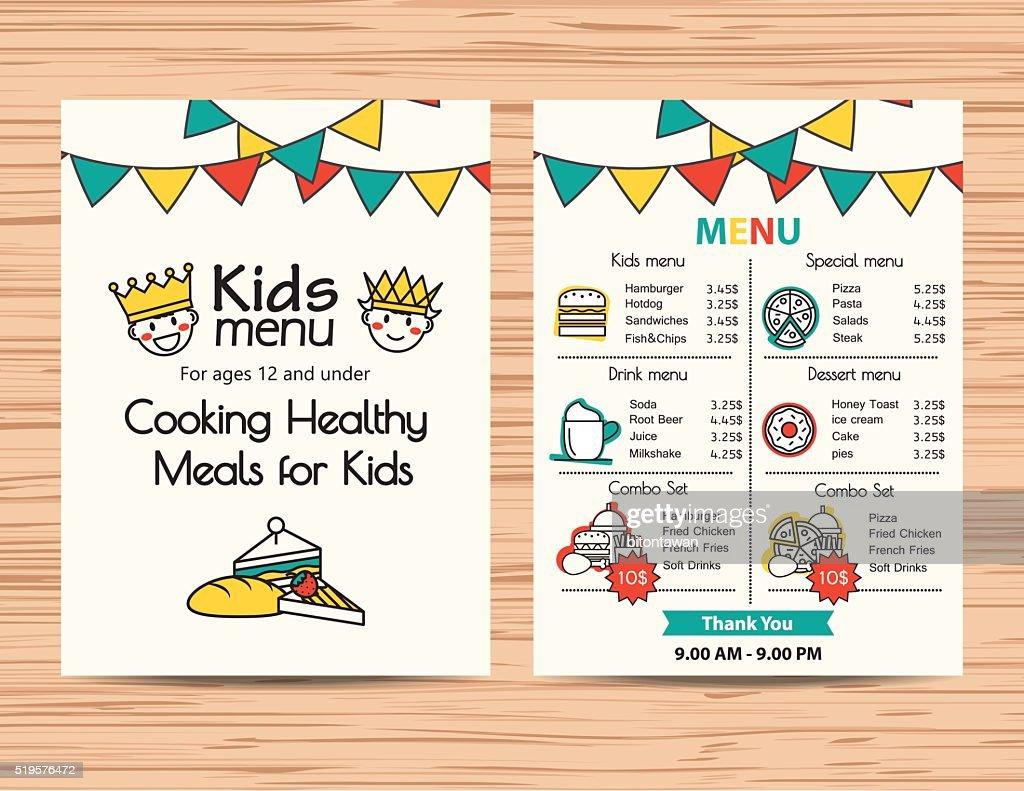 kids meal menu vector template ,Restaurant menu design