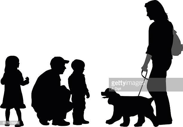 kids meeting new people and their dog - crouching stock illustrations, clip art, cartoons, & icons