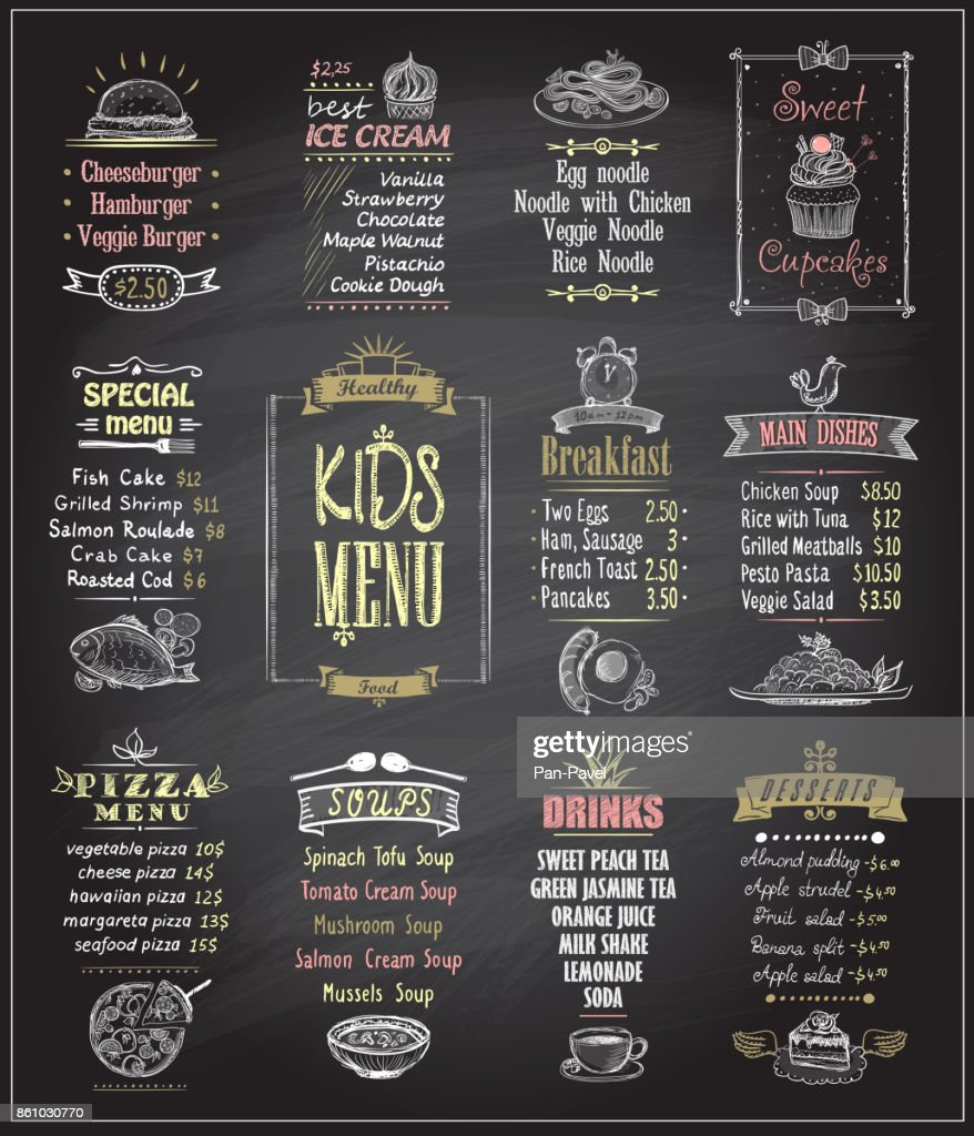 Kids menu chalkboard designs set