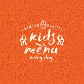 Kids menu label and fast food seamless pattern