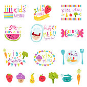 Kids menu stickers vector set.