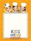 kids menu young chef children with blank menu board cartoon