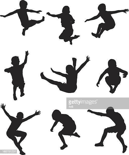 Kids mid-air jumping