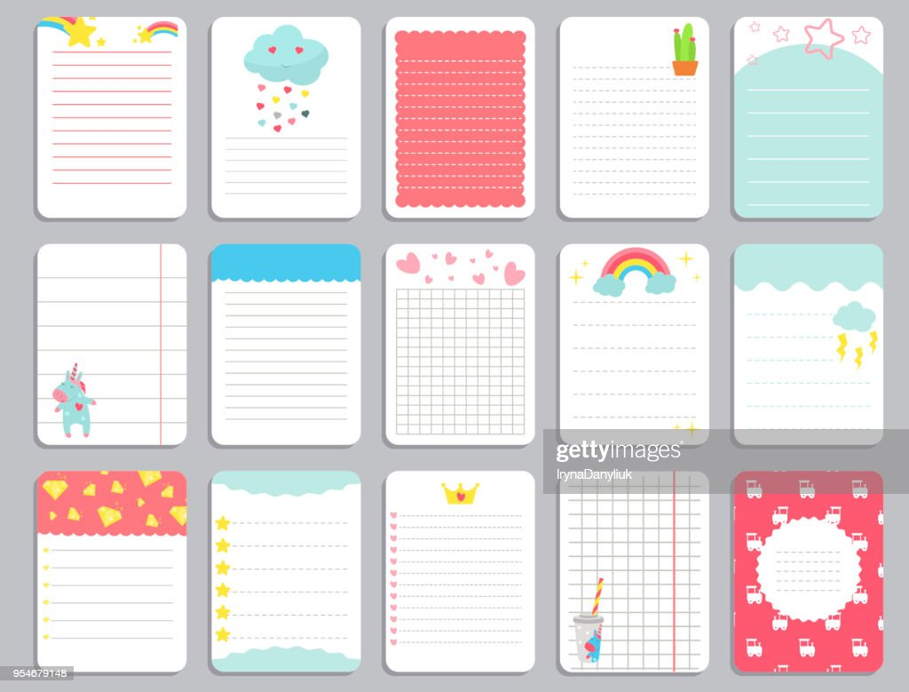 Kids notebook page template vector cards, notes, stickers, labels, tags paper sheet with unicorn illustrations.