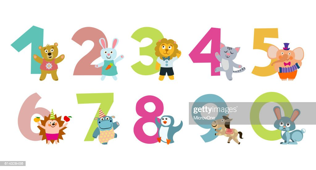 Kids numbers with cartoon animals vector illustration
