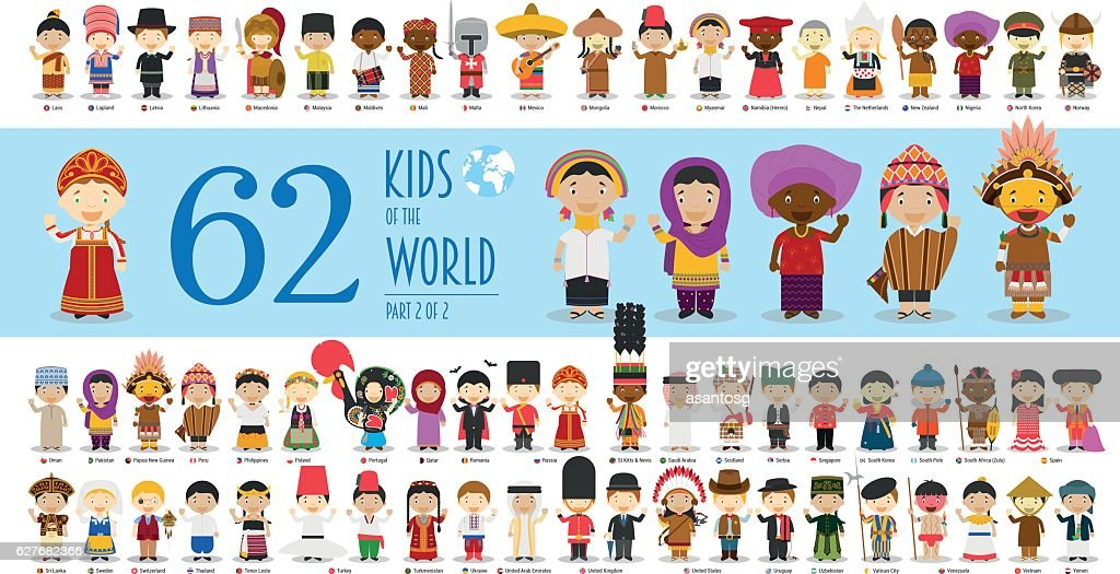 Kids of the World Part 2: 62 children characters