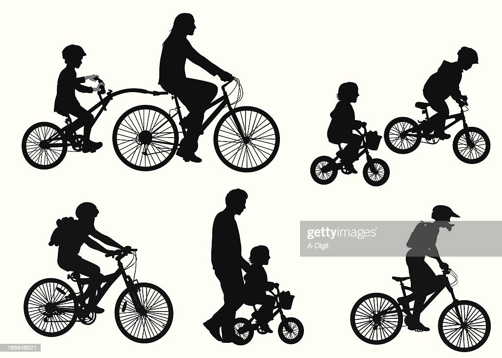 Kids On Bicycles Vector Silhouette : stock illustration