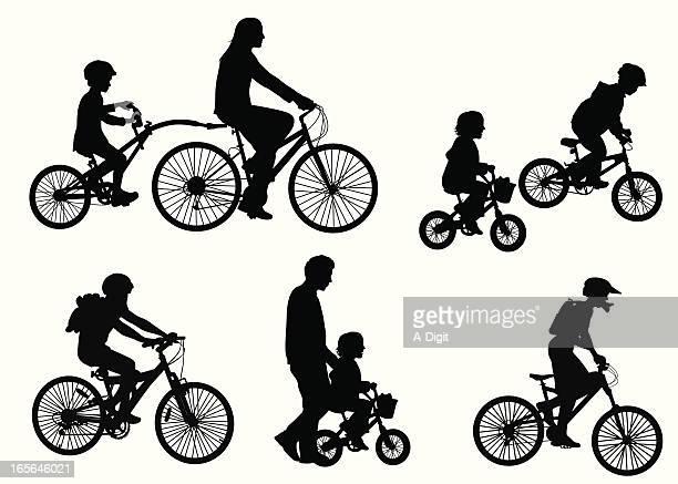 ilustrações de stock, clip art, desenhos animados e ícones de kidsonbicycles - family cycling