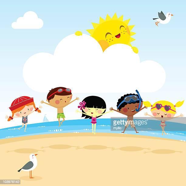 Enfants s'amuser sur la plage. myillo illustration vectorielle de soleil