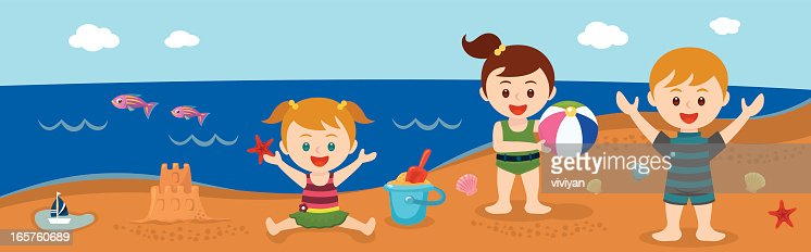 Kids On The Beach In Summer Vector Art