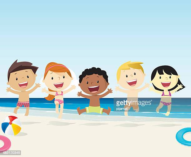 kids on the beach - swimwear stock illustrations, clip art, cartoons, & icons