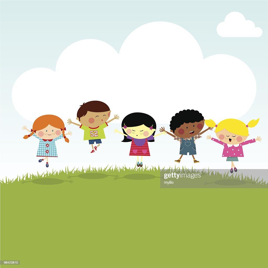 Kids on the hill happy jumping vector illustration myillo : stock illustration