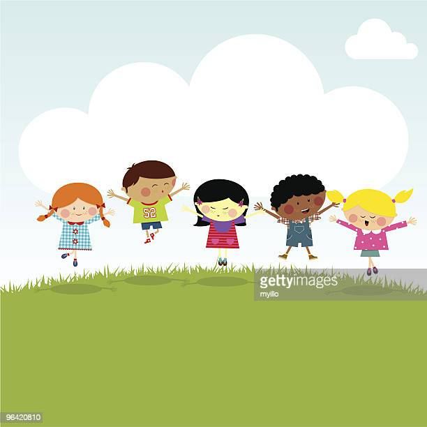 kids on the hill happy jumping vector illustration myillo - day stock illustrations